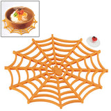 Versatile Spider Web Design Silicone Anti-Slip Hot Trivet Pad Soft Gel Pot Cup Coaster Mat (Orange)