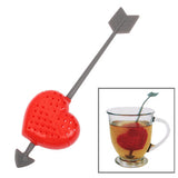 Modern Design Heart Shape Plastic + Silicon Tea Herb Filter Infuser Strainer Teabag