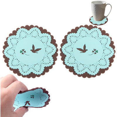 Bird Patterned Lace Silicone Coaster (A pair) (Blue)