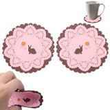 Rabbit Patterned Lace Silicone Coaster (A pair) (Pink)