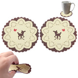 Deer Patterned Lace Silicone Coaster (A pair) (Yellow)