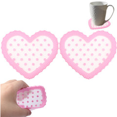 Heart-Shaped Patterned Lace Silicone Coaster (A pair) (Pink)