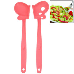 Butterfly Style Multifunction Plastic Salad Spoon Length: 30cm (Pink)