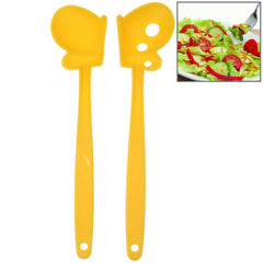 Butterfly Style Multifunction Plastic Salad Spoon Length: 30cm (Yellow)