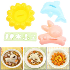 Cute Rabbit + Dolphin + Flower Style DIY Bento Meal Molds Set / Rice Cake Mold