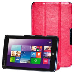 3-folding Crazy Horse Texture Flip Leather Case with Holder for Lenovo Miix 2-8(Magenta)