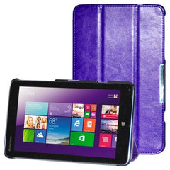 3-folding Crazy Horse Texture Flip Leather Case with Holder for Lenovo Miix 2-8(Purple)