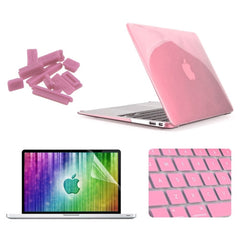 ENKAY 4 in 1 Crystal Hard Shell Plastic Protective Case with Screen Protector & Keyboard Guard & Anti-dust Plugs for MacBook Air 11.6 inch(Pink)