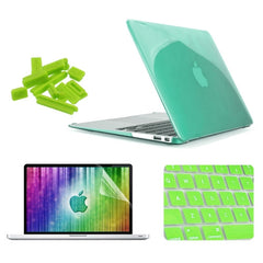 ENKAY 4 in 1 Crystal Hard Shell Plastic Protective Case with Screen Protector & Keyboard Guard & Anti-dust Plugs for MacBook Air 11.6 inch(Green)