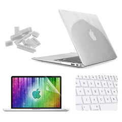 ENKAY 4 in 1 Crystal Hard Shell Plastic Protective Case with Screen Protector & Keyboard Guard & Anti-dust Plugs for MacBook Air 13.3 inch(White)