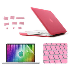 ENKAY 4 in 1 Frosted Hard Shell Plastic Protective Case with Screen Protector & Keyboard Guard & Anti-dust Plugs for MacBook Pro 13.3inch(Pink)