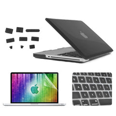 ENKAY 4 in 1 Crystal Hard Shell Plastic Protective Case with Screen Protector & Keyboard Guard & Anti-dust Plugs for MacBook Pro 13.3inch(Black)