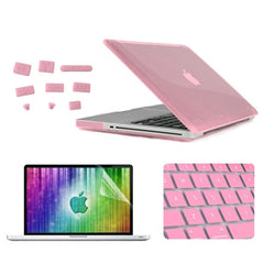 ENKAY 4 in 1 Crystal Hard Shell Plastic Protective Case with Screen Protector & Keyboard Guard & Anti-dust Plugs for MacBook Pro 15.4inch(Pink)