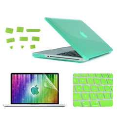 ENKAY 4 in 1 Crystal Hard Shell Plastic Protective Case with Screen Protector & Keyboard Guard & Anti-dust Plugs for MacBook Pro 15.4inch(Green)