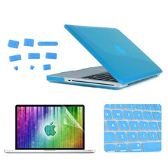 ENKAY 4 in 1 Crystal Hard Shell Plastic Protective Case with Screen Protector & Keyboard Guard & Anti-dust Plugs for MacBook Pro 15.4inch(Blue)