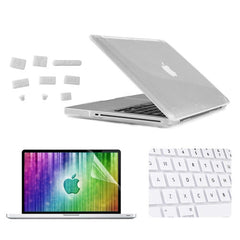 ENKAY 4 in 1 Crystal Hard Shell Plastic Protective Case with Screen Protector & Keyboard Guard & Anti-dust Plugs for MacBook Pro 15.4inch(White)
