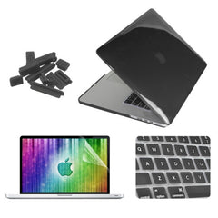ENKAY 4 in 1 Crystal Hard Shell Plastic Protective Case with Screen Protector & Keyboard Guard & Anti-dust Plugs for MacBook Pro Retina 13.3inch(Black)