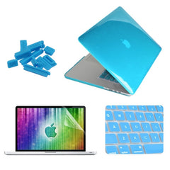 ENKAY 4 in 1 Crystal Hard Shell Plastic Protective Case with Screen Protector & Keyboard Guard & Anti-dust Plugs for MacBook Pro Retina 13.3inch(Blue)
