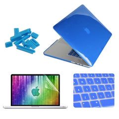 ENKAY 4 in 1 Crystal Hard Shell Plastic Protective Case with Screen Protector & Keyboard Guard & Anti-dust Plugs for MacBook Pro Retina 15.4inch(Dark Blue)