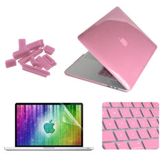 ENKAY 4 in 1 Crystal Hard Shell Plastic Protective Case with Screen Protector & Keyboard Guard & Anti-dust Plugs for MacBook Pro Retina 15.4inch(Pink)