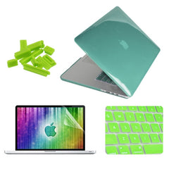 ENKAY 4 in 1 Crystal Hard Shell Plastic Protective Case with Screen Protector & Keyboard Guard & Anti-dust Plugs for MacBook Pro Retina 15.4inch(Green)