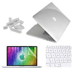 ENKAY 4 in 1 Crystal Hard Shell Plastic Protective Case with Screen Protector & Keyboard Guard & Anti-dust Plugs for MacBook Pro Retina 15.4inch(White)