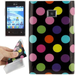 Black and Colourful Dot Pattern TPU Case for LG Optimus L3 / E400