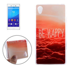 0.3mm Ultra-thin BE HAPPY Pattern TPU Protective Case for Sony Xperia M4 Aqua