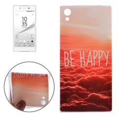 0.3mm Ultra-thin BE HAPPY Pattern TPU Protective Case for Sony Xperia Z5