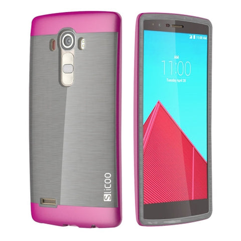 Slicoo Brushed Texture Electroplating TPU + PC Combination Case for LG G4 / H815(Magenta)