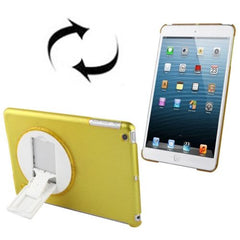 270 Degree Rotation Scrub Translucent Plastic Case with Adjustable Holder for iPad mini 1 / 2 / 3(Yellow)