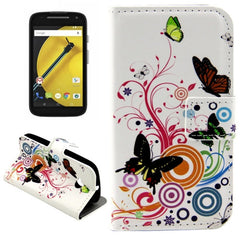 Colorful Butterflies & Vector Circle Pattern Horizontal Flip Leather Case with Holder & Card Slots & Wallet for Motorola Moto E (2nd gen)