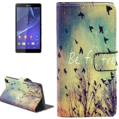 Birds Pattern Leather Case with Holder & Card Slots & Wallet for Sony Xperia Z3