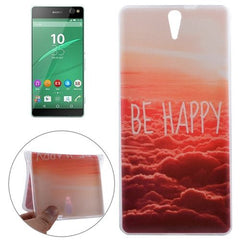 0.3mm Ultra-thin BE HAPPY Pattern TPU Protective Case for Sony Xperia C5 Ultra