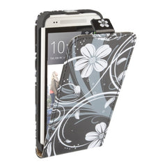 Rattan Flower Pattern Vertical flip Leather Case for HTC One mini / M4