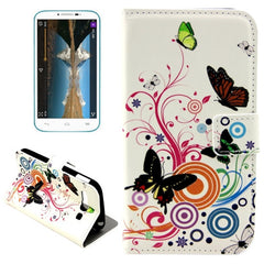 Colorful Butterfly & Circle Pattern Horizontal Flip Leather Case with Holder & Card Slots & Wallet for Alcatel One Touch Pop C9