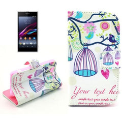 Birdcages Pattern Button Flip Leather Case with Card Slots & Holder for Sony Xperia Z1 mini