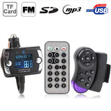 Car Bluetooth Handfree MP3 Player FM Transmitter with Steering Wheel Remote Support USB Flash Disk & SD / MMC/ TF Card(Black)