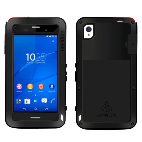 LOVE MEI Waterproof Dustproof Shockproof Metal Protective Case for Sony Xperia Z3(Black)