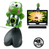 USB 2.0 Cartoon Green Frog Style 0.48 Mega Pixels Driverless PC Camera / Webcam Cable Length: 1.2m