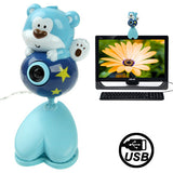 USB 2.0 Cartoon Bear Style 0.48 Mega Pixels Driverless PC Camera / Webcam Cable Length: 1.2m