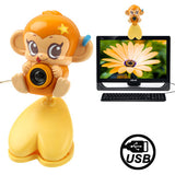 USB 2.0 Cartoon Monkey Style 0.48 Mega Pixels Driverless PC Camera / Webcam Cable Length: 1.2m