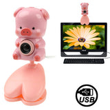 USB 2.0 Cartoon Pink Pig Style 0.48 Mega Pixels Driverless PC Camera / Webcam Cable Length: 1.2m