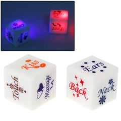 2 PCS Color LED Light Sexy Dice Bachelor Party Game / Novelty Gift Bedroom Toy for Lover Size: 18mm x 18mm x 18mm(White)