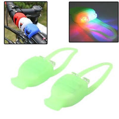 3-Mode silicone set 2-LED Blue & Red Light Tie-On Bike Light (Random Color Delivery)