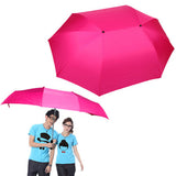 Couple Umbrella & Double Umbrella Large Wind Sunny Umbrella Family Necessary(Magenta)