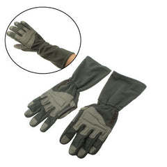 Durable Full-Finger Genuine Leather Gloves with Extended Gauntlet Protection (Army Green)