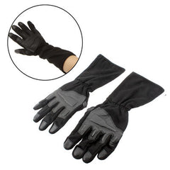 Durable Full-Finger Genuine Leather Gloves with Extended Gauntlet Protection (Black)