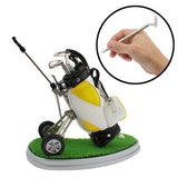 Synthetic Leather Golf Trolley Design Pen Holder with 3 Golf Gear Shaped Pens / Plastic Grass Mat (Yellow)