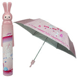 Fashion Folding Bottle Umbrella Brolly Parasol with Rabbit Shaped Case(Pink)